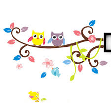 Diy Sticker Decorative Removable Wall Stickers Cartoon Owls
