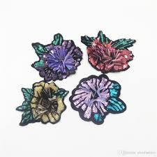 different color purples different color sequin flower patches embroidered applique sew on