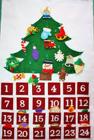 christmas countdown calendar ingericht hartvormige kerstboom ornament felt advent