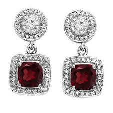 s birthstone earrings dangle earrings garnet and diamonds on