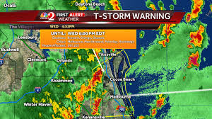 Cocoa Beach Map Severe Storms Moving Across Central Florida