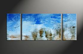 3 piece blue abstract canvas art prints
