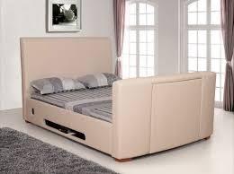 Kingsize Tv Bed Frame Veba Ivory Kingsize Leather Tv Bed Frame Leather