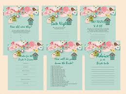 bird bridal shower game package magical printable