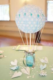 hot air balloon centerpiece hot air blue and sparkling wedding balloon centerpiece my