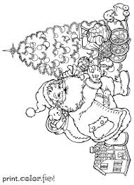 coloring page of christmas tree with presents santa putting presents under the christmas tree coloring page