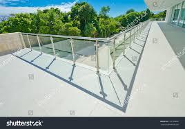 perspective modern glass steel balcony deck stock photo 123758806
