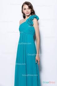 elegant a line one shoulder ruffled turquoise floor length chiffon