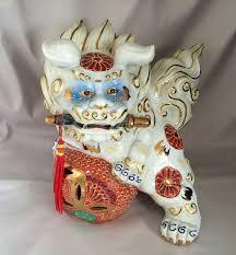kutani shishi white kutani foo dog japanese gilt moriage porcelain shi shi