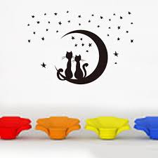 Decoration Star Wall Decals Home by Amazon Com Dkx Moon Cute Cat Environmental Protection Pvc Wall