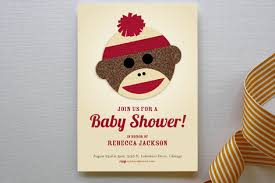 sock monkey baby shower invitations by jessie steu minted