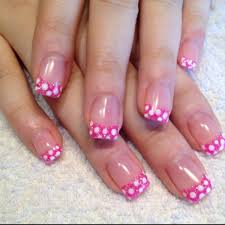 pink glitter with white polka dot acrylic nail tips hair