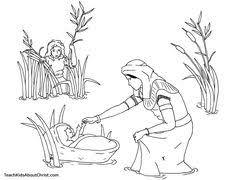 Cute Baby Moses With Mom Coloring Pages For Little Kids Bible Coloring Pages Moses