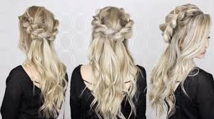 side view of pulled back hair in a bun how to half up half down pull through braid waves tutorial