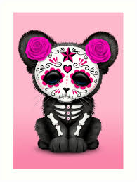 pink day of the dead sugar skull panther cub prints by jeff