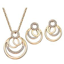 rose gold necklace earrings images Original swarovski elements crystal 20 80 jpg