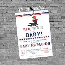 fourth of july birthday invitations gender reveal invitation patriotic uncle sam red white baby baby