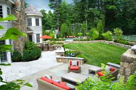 a blade of grass boston landscape design installation maintenance wellesley ma back patio outdoor living space with pool and tennis court landscape