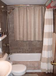 bathroom cozy americast tub with elegant shower curtain and cozy americast tub with elegant shower curtain and merola tile wall for small bathroom design