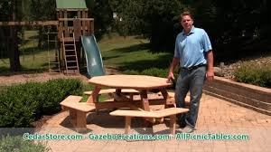 red cedar octagon walk in picnic table from cedarstore com youtube