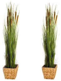 set of 2 artificial 47in cattails and reed grass black pot