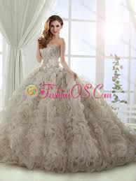 puffy skirt brush train beaded champagne 15 quinceanera dress in