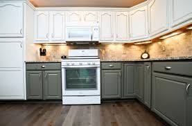 kitchen two toned kitchen cabinet with white and dark brown