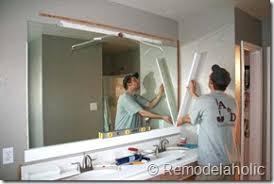 Framing A Bathroom Mirror Framing A Large Bathroom Mirror Diy