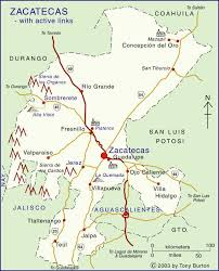 map of mexico cities clickable map of zacatecas and aguascalientes states