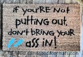 putting out time funny rude outdoor mature doormat damn good