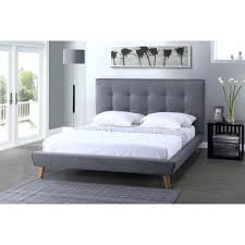 Modern Queen Bed Frame Metal Bed Frame White Inspire Q Grace Grey Linen Button Tufted
