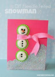 the funky felter needle felted wool snowman card with upcycled