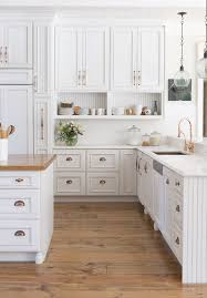 floor and decor cabinets white kitchen antique bronze pulls beadboard open shelving
