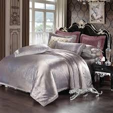 Silver Comforter Set Queen Velvet Jacquard Satin Bedding Sets Silk Duvet Cover Bed Sheet Sets