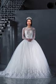 bateau neckline ball gown long sleeve lace wedding dresses 2015