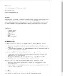 Hospitality Resume Samples by Professional Hotel Management Trainee Templates To Showcase Your