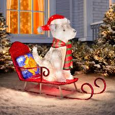 lighted dog christmas lawn ornament sled riding husky lighted outdoor christmas decoration improvements