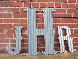 kansas barn tin letters large 24 marquee monogram