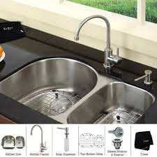 stainless steel soap dispenser for kitchen sink kraus 30 inch undermount double bowl stainless steel kitchen sink with kitchen bar faucet soap