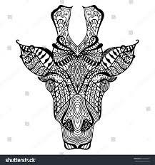 giraffe hand drawn giraffe ethnic floral stock vector 412009543