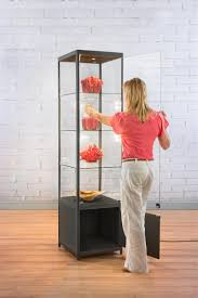 Display Cabinets With Lights 20 U201d Glass Display Case W Lights U0026 Base Cabinet Fixed Shelves