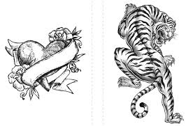 tattoo coloring pages heart and tiger coloringstar