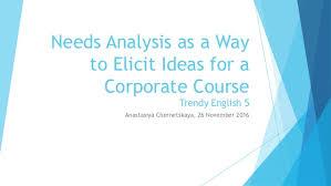 anastasiya chernetskaya needs analysis as a way to elicit ideas for