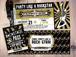 Vip Invitation Cards Rock Star Concert Ticket Birthday Party Invitation Music