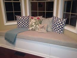 custom trapezoid bay window seat cushion with cording