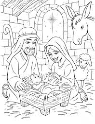 Nativity Scene With Cute Angels And Animals Story Coloring Pages Free Printable Nativity Coloring Pages