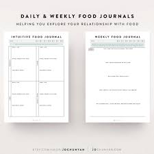 printable planner diary intuitive eating kit food journal food diary meal planner