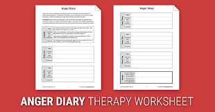 anger diary worksheet therapist aid