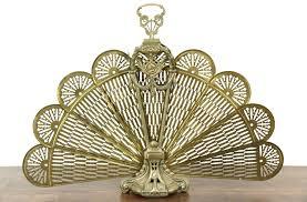 sold peacock fan brass vintage folding fireplace screen harp