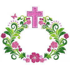 design embroidery cross with flowers religious applique machine embroidery design